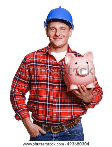construction man isolated with piggy bank.