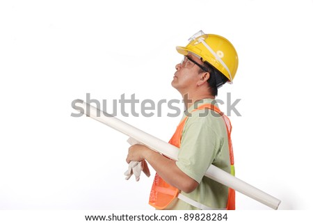 construction man with yellow hard hat - stock photo