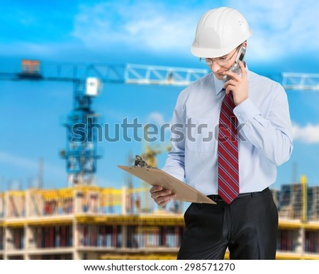 Construction, Manager, Telephone. - stock photo