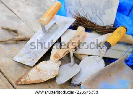 Construction masonry cement mortar tools - stock photo