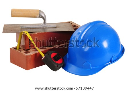 Construction objects. Isolated - stock photo