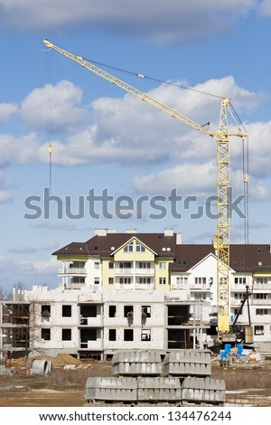 Construction of a block of flats - stock photo