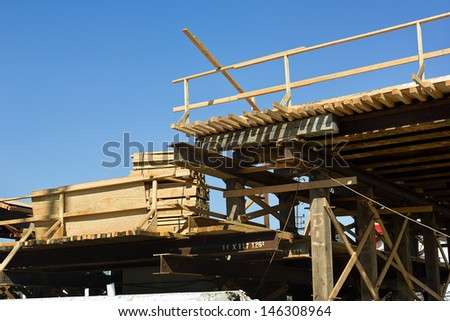 Construction of a bridge  - stock photo