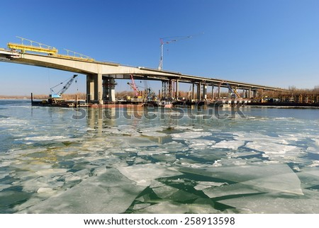 Construction of a bridge over the River Don - stock photo