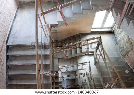 Construction of a lift shaft with staircase, bird eye view.