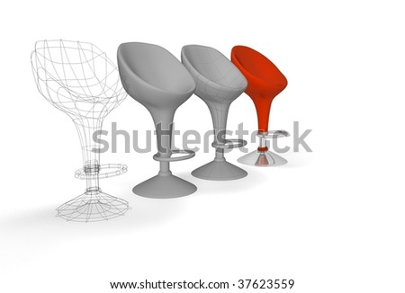 construction of a modern chair - stock photo