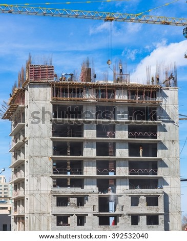 construction of a multistory building - stock photo