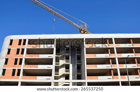 Construction of a new apartment building - stock photo
