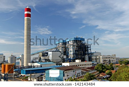 Construction of a new coal fired power plant in indonesia - stock photo