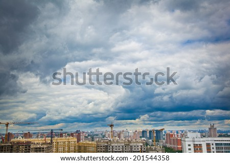 construction of a new district and a blue sky with clouds
