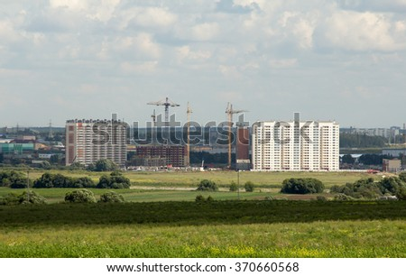 construction of a new residential district. apartment buildings
