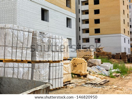 construction of a residential house - stock photo