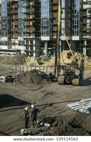 Construction of apartments in new residential complex.