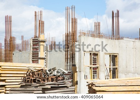 Construction of building a sky background, close up - stock photo