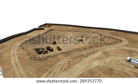 construction of concrete foundation of building day on white background