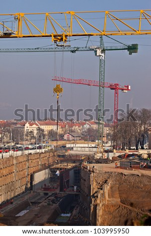 Construction of connection under the urban area - stock photo