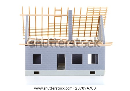 Construction of cottages. Isolated on the white background