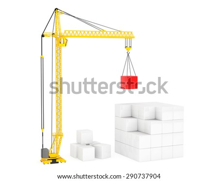 Construction of Cubes by Yellow Tower Crane on a white background - stock photo