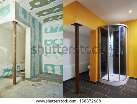 Construction of Drywall-Plasterboard bathroom Before and after - stock photo