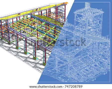 Construction metal buildings model blueprint engineering stock construction of metal buildings model and blueprint engineering background construction background 3d malvernweather