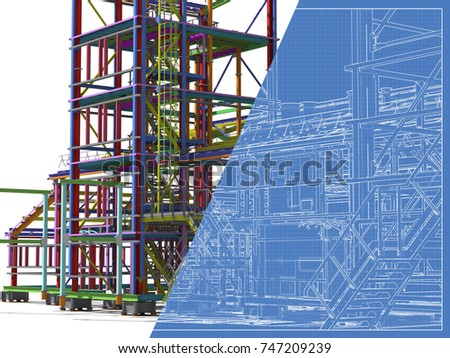 Construction metal buildings model blueprint engineering stock construction of metal buildings model and blueprint engineering background construction background 3d malvernweather Images