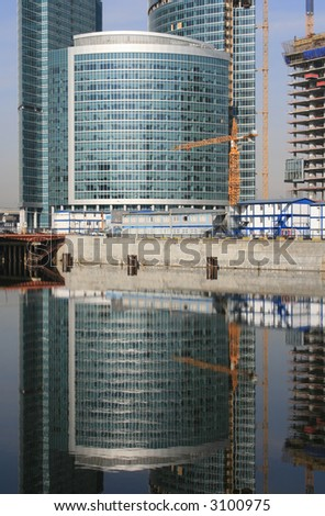 Construction of modern buildings in Moscow (Russia). - stock photo