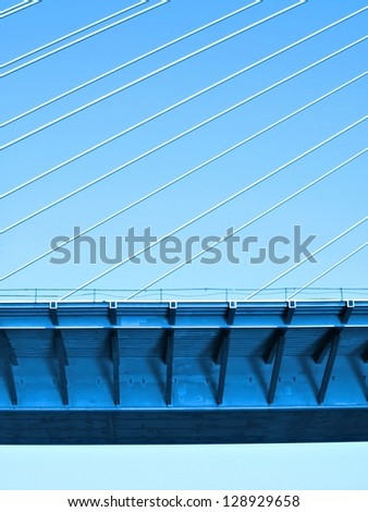 Construction of new bridge / Modern bridge / Abstract / Belgrade, Serbia - stock photo