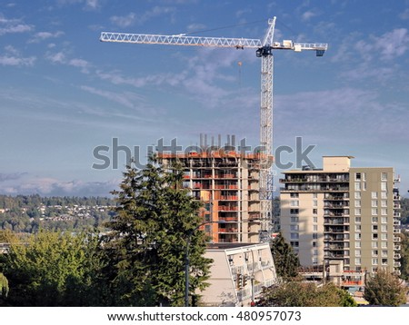Construction  of new high-rise building in New Westminster British Columbia