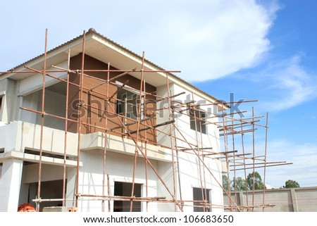 Construction of new home building - stock photo