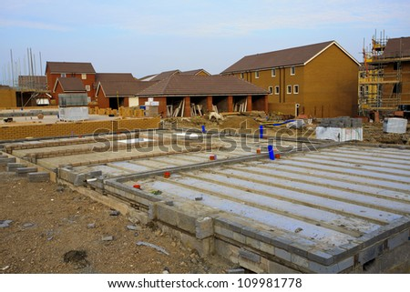 Construction of new houses with foundations in Bristol, UK - stock photo