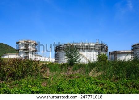 Construction of oil tanks - stock photo