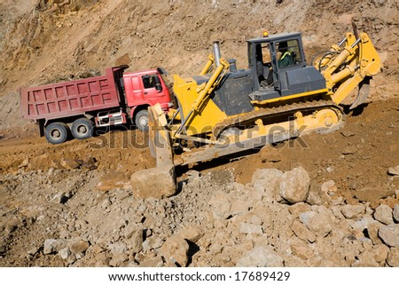 Construction of road in the middle cities.To quarry. - stock photo