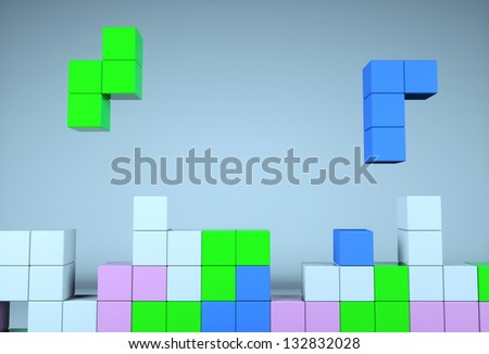 Construction of the cube on a blue background - stock photo