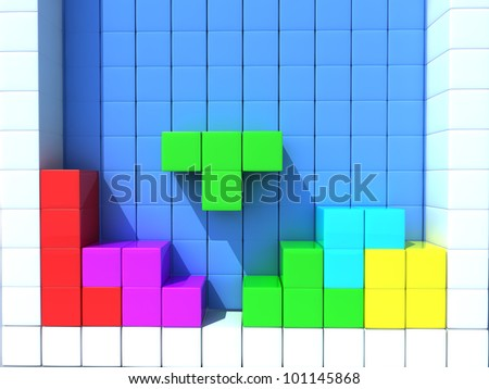 Construction of the dice on a white background - stock photo