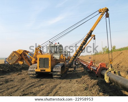 construction of the gas pipeline - stock photo