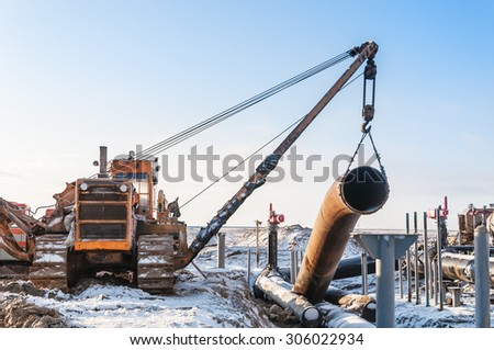 Construction of the pipeline. Pipeline building. - stock photo