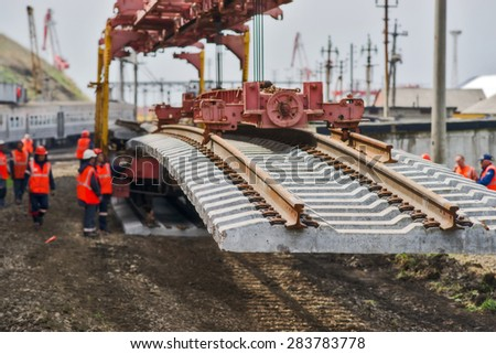 Construction of the railway. - stock photo