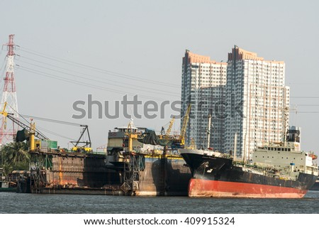Construction of the ship in shipyard - stock photo
