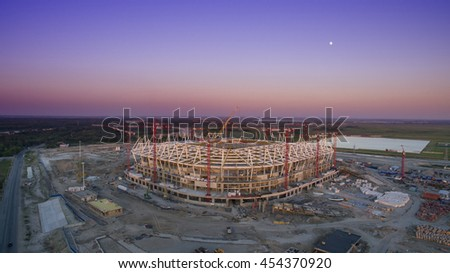 Construction of the stadium. Preparing for the championship in 2018 - stock photo