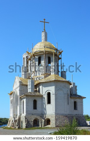 Construction of the temple of the Orthodox Church - stock photo