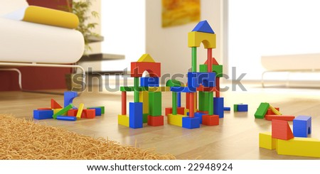 construction of wooden building blocks in the floor of a brightly illuminated living room, 3D render