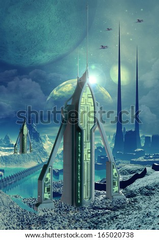 Construction on an Alien Planet - stock photo