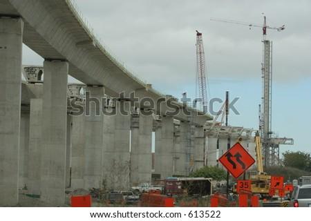 Construction on I-280 - stock photo