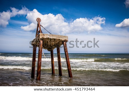 Construction on the Baltic beach - stock photo
