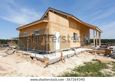 Construction or repair of  house with insulation, eaves, windows, garage,chimney, roofing, fixing facade and plastering