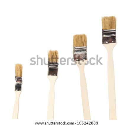 Construction paintbrushes isolated on white