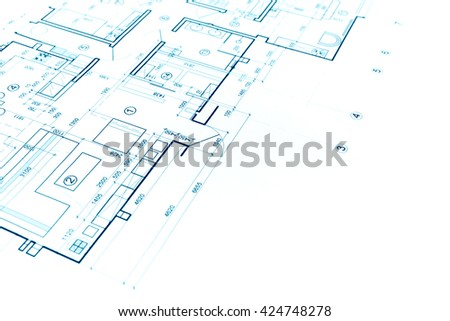 construction plan blueprint, part of architectural project, architectural background - stock photo