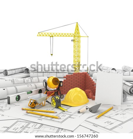 construction plan in roll - stock photo