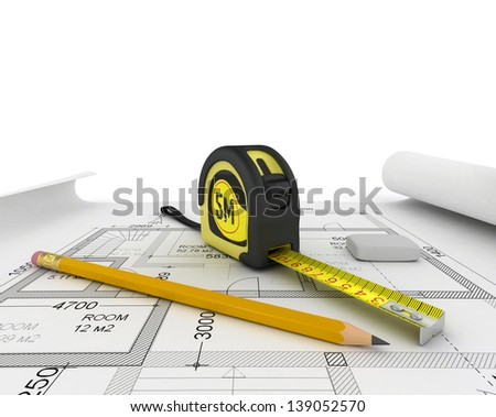 construction plan in roll with scale and pencil - stock photo
