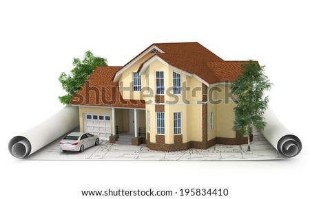 construction plan with house and wood 3d - stock photo